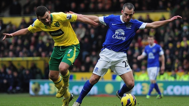 Robert Snodgrass (Norwich City FC) & Leon Osman (Everton FC)