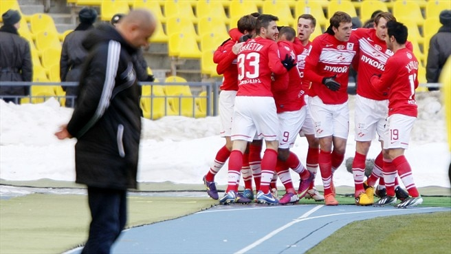 FC Spartak Moskva players celebrate a goal