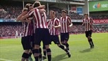 Athletic Club players celebrate a goal