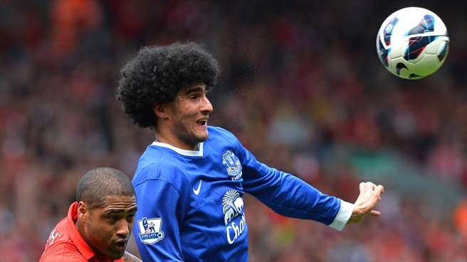 Glen Johnson (Liverpool FC) & Marouane Fellaini (Everton FC)