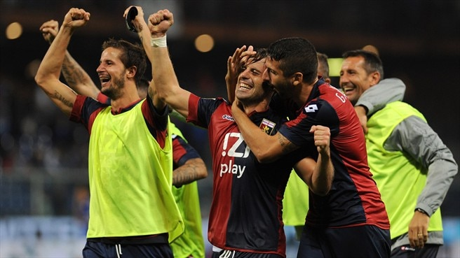 Players of Genoa CFC celebrate victory