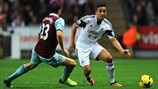 Stewart Downing (West Ham United FC) & Neil Taylor (Swansea City AFC)