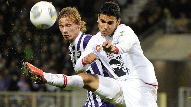 Clement Chantome (Toulouse FC) & Benjamin Andre (AC Ajaccio)