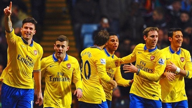 Arsenal at the double as they hold off Villa