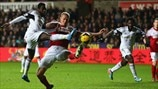 Nathan Dyer (Swansea City AFC) & Brede Hangeland (Fulham FC)