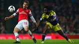 Mathieu Flamini (Arsenal FC) & Wilfried Bony (Swansea City AFC)