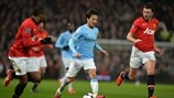 David Silva (Manchester City FC), Patrice Evra & Michael Carrick (Manchester United FC)
