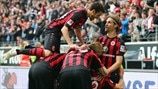 Eintracht Frankfurt players celebrate