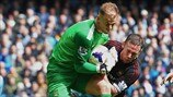 Joe Hart (Manchester City FC) & Kevin Nolan (West Ham United FC)