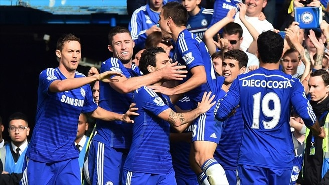 Chelsea fc players celebrate