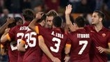 AS Roma players celebrate