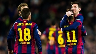 Messi magic drives Barcelona to derby win