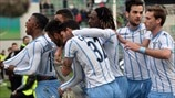 SS Lazio players celebrate