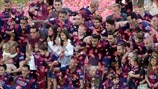 FC Barcelona players celebrate