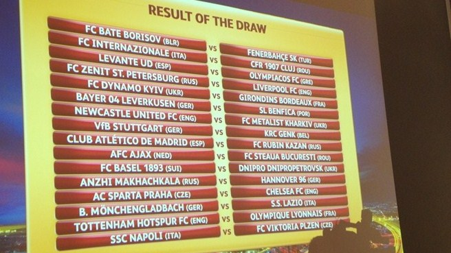 UEFA Europa League round of 32 draw result
