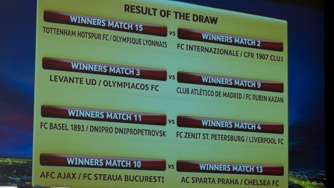 UEFA Europa League round of 16 draw result