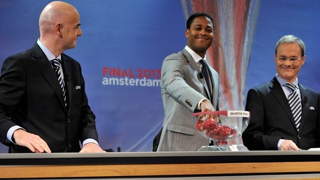 Gianni Infantino, Patrick Kluivert & Giorgio Marchetti (UEFA Europa League quarter-final draw)