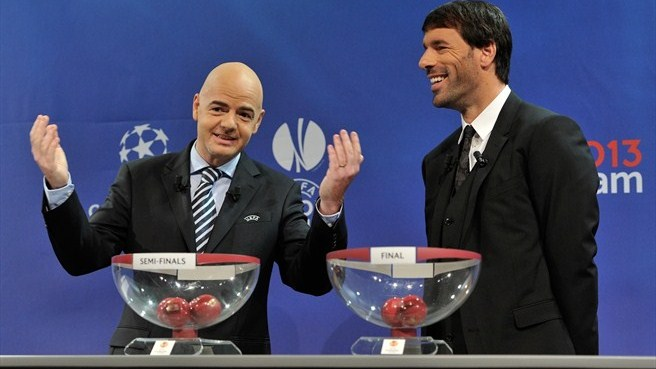 Gianni Infantino & Ruud van Nistelrooy (UEFA Europa League semi-final draw)