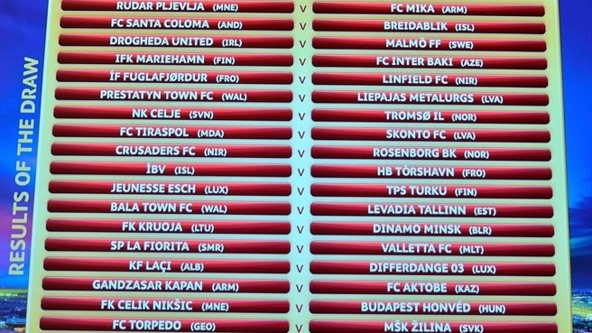 UEFA Europa League first qualifying round draw result