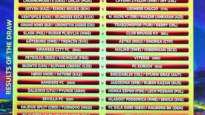 UEFA Europa League third qualifying round draw results