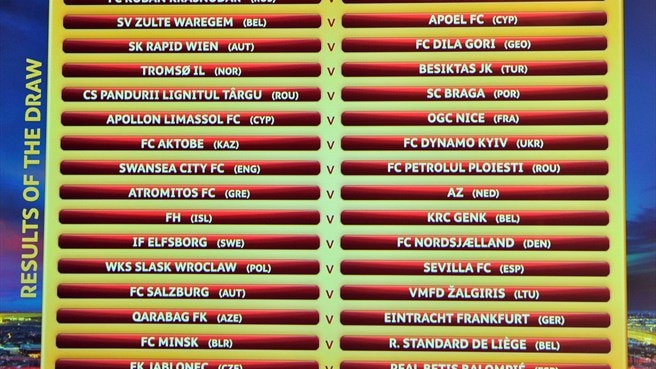UEFA Europa League play-off draw result