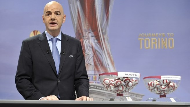 Gianni Infantino (UEFA Europa League round of 32 & 16 draw)