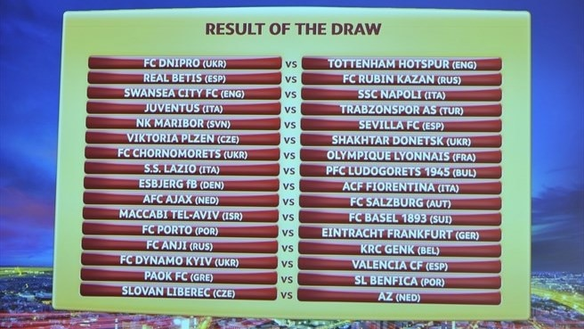 UEFA Europa League round of 32 draw results