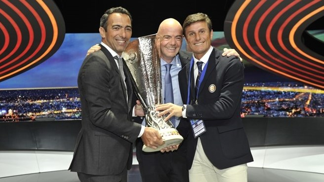 Youri Djorkaeff, Gianni Infantino and Javier Zanetti