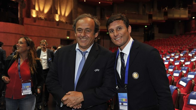 Michel Platini and Javier Zanetti