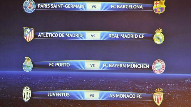 Uefa Champions League Quarter Final Draw Results Uefa Champions