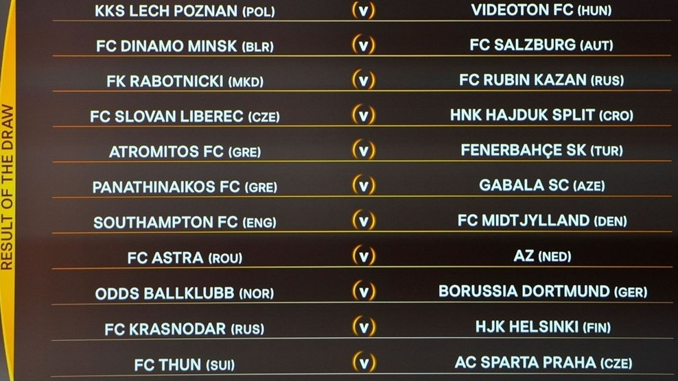 UEFA Europa League play-off draw results