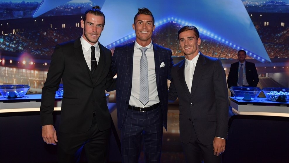 Gareth Bale, Cristiano Ronaldo & Antoine Griezmann (UEFA Champions League group stage draw)