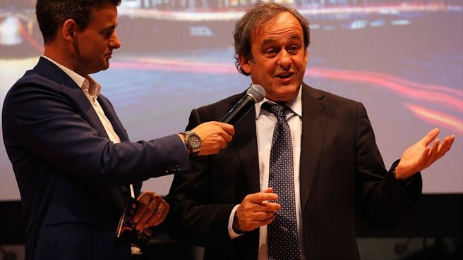 Michel Platini (UEFA Europa League trophy handover)