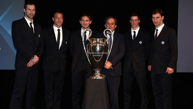 Michel Platini (UEFA Champions League trophy handover in London)