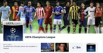 The UEFA Champions League Facebook page has over 5 million likes