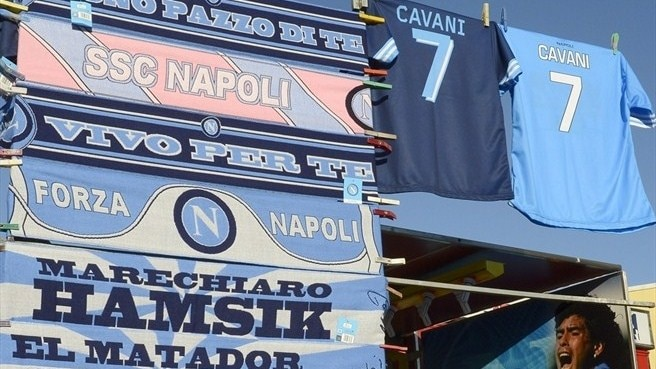 Merchandise stall outside Stadio San Paolo