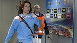 Edinson Cavani (SSC Napoli) arrives