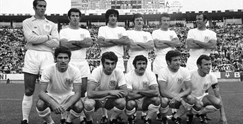 Israel line up ahead of their meeting with Uruguay at the 1970 World Cup