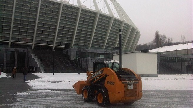 Olympic Stadium, Kyiv, in snow