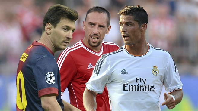 Messi, Ribéry and Ronaldo on Best Player shortlist