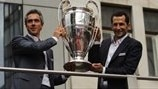 Paulo Sousa (left) and Hasan Salihamidžić parade the silverware during the UEFA Champions League Trophy Tour visit to Sarajevo