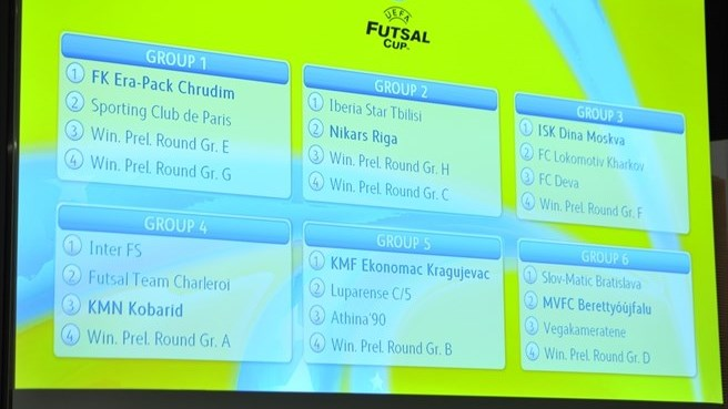UEFA Futsal Cup main round draw results