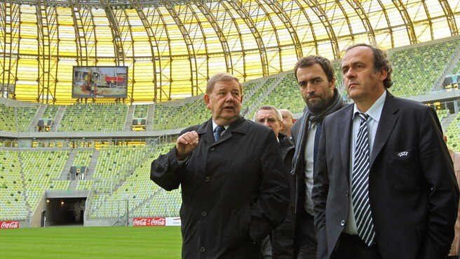 Michel Platini at the stadium in Gdansk