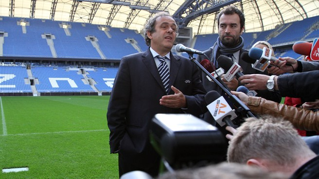 Michel Platini at the stadium in Poznan