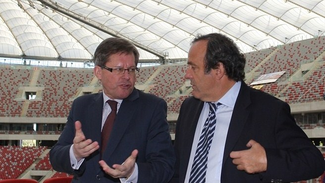 Adam Giersz & Michel Platini at the National Stadium in Warsaw