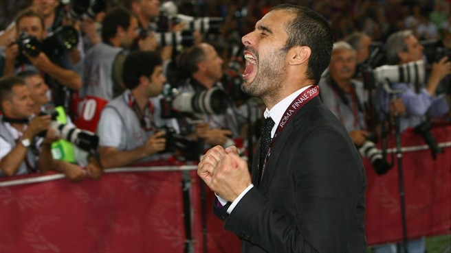 Guardiola salutes his treble winners