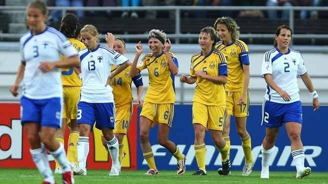 Ukraine celebrate their winner against Finland