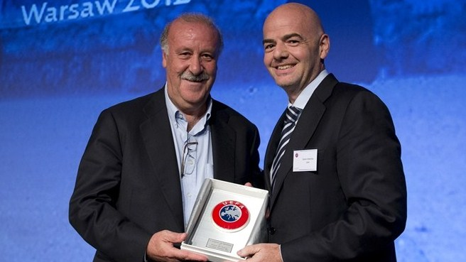 Vicente Del Bosque (Spain) & Gianni Infantino (UEFA)