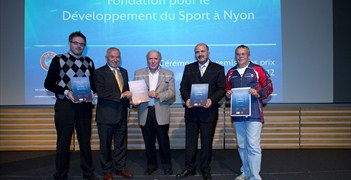 The 2012 award winners at the ceremony at the House of European Football