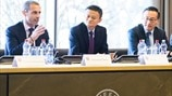 UEFA President meeting with Jack Ma and Joe Tsai from Alibaba